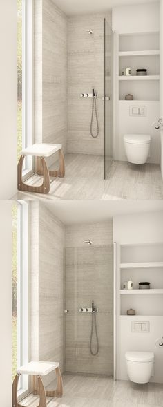 Use Dansani Match hinged door for the guest shower room. Simply fold the door against the wall when not in use.