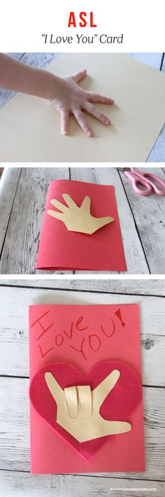 """ASL I-Love-You Craft - Try this Fun ASL Craft for Valentine's Day This cute Valentine's Day card uses a cut out of your hand to form the ASL sign for """"I Love You"""". This ASL craft is perfect for Valentine's Day! Homemade Valentines Day Cards, Kinder Valentines, Valentines Day Activities, Valentines Day Party, Valentine Day Crafts, Valentine Ideas, Printable Valentine, Valentine Box, Valentine Wreath"""