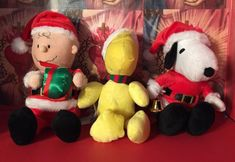 "Peanuts SNOOPPY CHARLIE BROWN WOODSTOCK BIRD Santa Suit 13"" musical plush  
