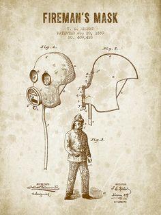 Firemans Mask Patent From 1889 - Vintage Brown Digital Art