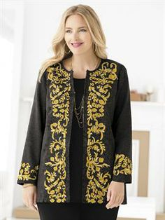 Plus Size Regally Embroidered Damask Jacket
