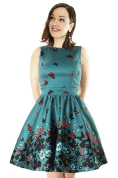 Teal Butterfly Border Tea Dress : Lady Vintage