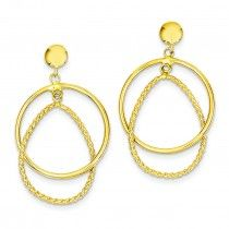 14K Gold Polished & Patterned Dangle Post Earrings