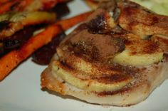 Apple-Baked Pork Chops , I changed recipe up. Pat chops dry, bone in w/ tenderloin. Med. thin ( next time I,ll do thick) EEVO the pan, season w/ Maldon flaked sea salt,pinch of.rosemary,thyme,cracked pepper,& thin sliced garlic, ( which I pre-prepare in refrigerated jar w/olive oil) , place seasoned side down...place peeled thin sliced apple over pork, season w/ tad cinnamon,tad brown sugar,and butter pad. Bake in convection oven 30 min. Turn over, place under broil 5 min. Pour juices over…
