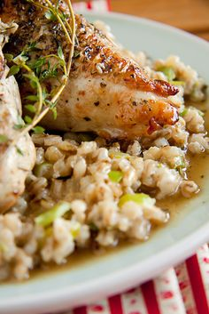 Roast Chicken breasts on Barley Risotto - Barley is a hearty, nuttier alternative to traditional arborio rice and served with roast chicken breasts, is a perfect easy dinner recipe. Roasted Chicken Breast, Roast Chicken, Stuffed Chicken, Rotisserie Chicken, Fried Chicken, Cooking Recipes, Healthy Recipes, Game Recipes, Meal Recipes