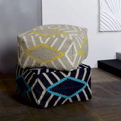 Diamond Stripe Pouf