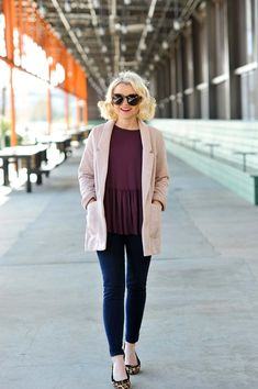 How To Style A Pink Blazer - Poor Little It Girl. Purple top+skinny jeans+leopard printed ballerinas+light pink boyfriend blazer+light pink and black handbag+sunglasses. Spring Dressy Casual Outfit 2017