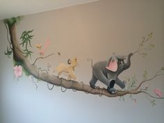 Tak met disney figuren in babykamer Kids Room Murals, Murals For Kids, Wall Art Wallpaper, Mural Wall Art, Baby Massage, Nursery Room, Baby Room, Lion King Nursery, Disney Mural
