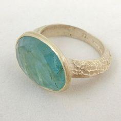 Silver Cup Ring with Aquamarine Poppy Dandiya
