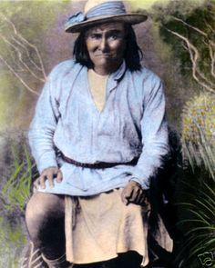 "GERONIMO NATIVE AMERICAN INDIAN APACHE 1886 8x10"" HAND COLOR TINTED PHOTOGRAPH"