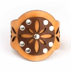 Boho Medallion Cuff - Natural   Brickbubble - laser cut leather, hand assembly.