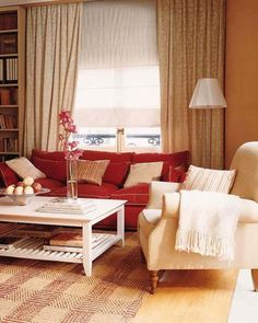 Incredible Living Room Interior Decorations with Wooden Floor feat Cream Carpet Paint and Single Cream Sofa Chair plus White Wooden Coffee Table and Red Sofa Living Room plus Cream Cushions and Lamps