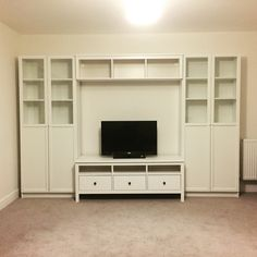 IKEA storage system Hemnes tv stand/bench Billy bookcase in white with oxberg doors