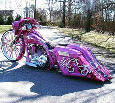 Jennifer's 30 inch bagger Custom Cycles LTD street glide Harley Davidson Harley Davidson Street Glide, Harley Davidson Chopper, Bagger Motorcycle, Motorcycle Style, Pink Motorcycle, Motorcycle Garage, Custom Baggers, Custom Harleys, Custom Choppers