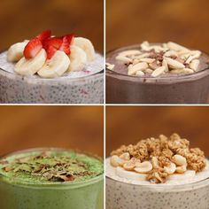 These Four Chia Pudding Recipes Are Perfect For A Make-Ahead Breakfast Chia Seed Pudding 4 Ways von Tasty Breakfast Recipes, Dessert Recipes, Breakfast Appetizers, Chia Recipe, Healthy Snacks, Healthy Recipes, Eating Healthy, Yummy Food, Tasty