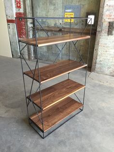 Modern Black Steel Bookcase with Solid Walnut by PWHFurniture