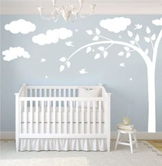 Wall Decal - white tree decal with clouds, butterflies & birds - Wall Art Decor via Etsy