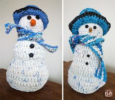 A crocheted snowman decoration made from #recycled plastic bag yarn