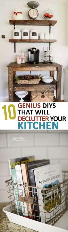 Declutter Your Kitchen, How to Organize Your Kitchen, Easy Kitchen Storage, Kitchen Organization Ideas, Kitchen Organization, Kitchen Organization Hacks, Popular Pin, Kitchen DIY, DIY Kitchen Projects, Kitchen Hacks, Kitchen Design Tips, Rustic Kitchen