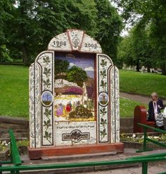 Buxton Well Dressing Temporary free water point at the right hand side. Morris Dancing, Water Drawing, Bakewell, Black Death, Yorkshire England, Peak District, Mosaic Designs, Derbyshire, Flower Petals