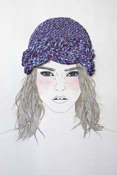 Izziyana Suhaimi's embroidered drawings. So cool.