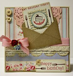 Shabby Birthday Card...with envelope & mini card...by Sassy Stampin'.