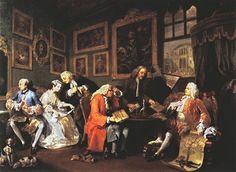 """윌리엄 호가스, <계약결혼>, 1743.  - 작품설명 : 이 작품은 """"유행에 따른 결혼""""이라는 표제를 단 여섯 점의 그림들 중 첫 번째 것으로, 당시 유행하던 결혼관계를 풍자적으로 보여주는 작품이다. 중인 신분의 상인은 비싼 결혼 지참금을 가지고 딸을 귀족백작의 아들에게 시집을 보내 신분상승을 꾀하고, 귀족백작은 이 결혼지참금을 이용해 재정문제를 해결하려는 장면이다.  가장 오른쪽에 앉아있는 사람이 귀족백작이고, 주황색 옷을 입은 사람은 상인이다. 흰 드레스를 입은 여자는 상인의 딸이고 그 옆에서 거울을 보는 남자는 백작의 아들이다.  - 나의 감상 : 캔버스 한 장에 이야기 하나를 담아내는 표현력이 대단하다고 여겨졌다. 이야기 하나를 이토록 압축적이면서도 선명하게 표현할 수 있었던 배경은 인물들의 모습과 행동이 그들의 성격이 잘 드러나도록 표현된 점인 것 같다. 꼭 대상(사물)이 아니라 작품속의 어떤 한 인간이 한 속성을 나타낸다면 그것도 '상징'의 일부라고 생각하게 된…"""