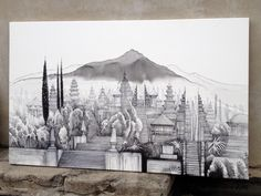 Chrám - kresba na plátno