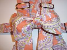 Peach Paisley Bow Tie & Suspenders-Peach Wedding by ChatterboxShop