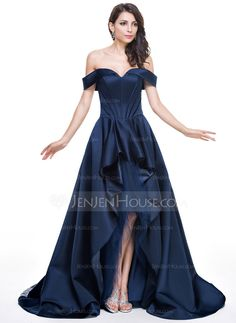 A-Line/Princess Off-the-Shoulder Asymmetrical Satin Tulle Evening Dress With Cascading Ruffles (017056129) - JenJenHouse