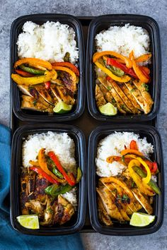 Meal-prep chicken marinated in a spicy garlic, chili, cilantro, lime marinade, served with rice and colorful bell peppers. This tasty flavor-packed meal is quick and easy makes a great lunch all we… healthy food Chili Lime Chicken and Rice Meal Prep Bowls Meal Prep Bowls, Easy Meal Prep, Meal Prep For Dinner, Meal Prep Cheap, Meal Prep Low Carb, Weekly Meal Prep, Low Calorie Meals, High Protein Meal Prep, Paleo Meal Prep