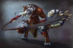 Roquar, el Catfolk que busca venganza por la muerte de sus padres en la pira. Listo un personaje mas paraPathfinder! ^^