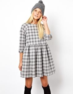 ASOS Denim Smock Dress in Check Print 80.09