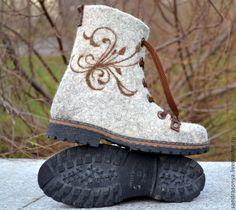 """Купить Ботинки валяные женские """"Зимнее настроение"""" - ботинки, валенки, сапоги, Женские ботинки"""