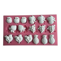 FLY 3D Silicone Apple Strawberry and Other Fruit Shape Fondant Cake MoldPink -- Learn more by visiting the image link.