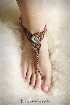 Sandalen - Keramik Makramee tribal bohemian barfuß Sandale - ein Designerstück von NataliaArtesania bei DaWanda