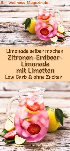 Zitronen-Erdbeer-Limonade mit Limetten selber machen: Low-Carb-Rezept für selbs… Make your own lemon and strawberry lemonade with limes: low-carb recipe for homemade lemonade without sugar – healthy, low in calories, quick and easy … free it Yourself Easy Strawberry Lemonade Recipe, Homemade Lemonade, Strawberry Smoothie, Drinks Alcohol Recipes, Non Alcoholic Drinks, Limes, Vegetable Drinks, Calories, Summer Drinks