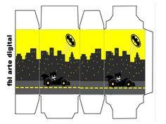 Batman en Amarillo y Negro: Cajas para Imprimir Gratis.