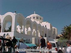 MITROPOLIS - Picture of the Orthodox Cathedral church of Fira from outside the Museum of Prehistoric Thira.