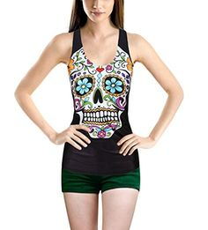 Womens Fashion Skull Printed Camisole Halter Top Sleeveless Tshirt Flowers Skull >>> To view further for this item, visit the image link.