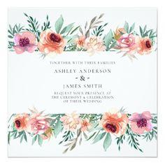 Shop Peach & Pink Watercolor Flowers Modern Wedding Invitation created by printabledigidesigns. Modern Wedding Theme, Pink Wedding Theme, Modern Wedding Invitations, Floral Theme, Floral Flowers, Wedding Gift Wrapping, Wedding Cards, Watercolor Flowers, Peach