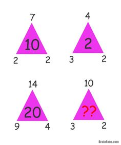 Brain teaser - Number And Math Puzzle - triangle riddle - find the missing number in the last violet triangle. Best Brain Teasers, Brain Teasers With Answers, Brain Teasers For Kids, Math Puzzles Brain Teasers, Math Logic Puzzles, Maths Riddles, Fun Math, Math Games, Math Activities
