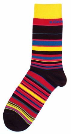Purple Pink Yellow Blue Stripe Mens Dress Sock - Bjorn Borg