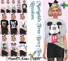 Sims 4 CC's - The Best: Marigold's Free Boxy Tee - Recolors by Annett85