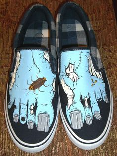 Hand painted Zombie shoes on Etsy, Walking Dead Apparel