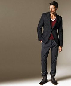 Suited look contrast with boots are a major styling trend... think Balmain Homme...