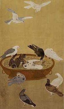 """Eleven Pigeons"" painting by Jiang Tingxi"