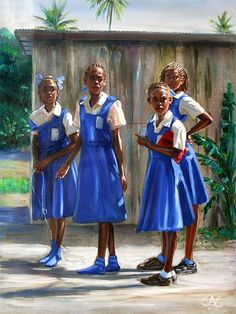 This reminds me of my school uniform~only with a pleated skirt dress and light blue blouse - Blue Jumpers by Jonathan Guy Gladding Black Like Me, Black Love Art, Black Girl Art, Black Is Beautiful, Art Girl, Ousmane Sow, Jamaican Art, Haitian Art, Black Art Pictures