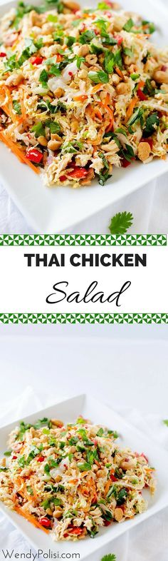 hai Chicken Salad with Ginger Lime Dressing - This healthy salad recipe is packed with flavor and texture!  Naturally gluten free and peanut free, this is a healthy meal you won't want to miss.- WendyPolisi.com Vinaigrettes, Dinner Salads Healthy, Healthy Thai Recipes, Thai Food Vegetarian, Dinner Salad Recipes, Thai Basil Recipes, Top Ramen Recipes, Napa Cabbage Recipes, Thai Chicken Recipes