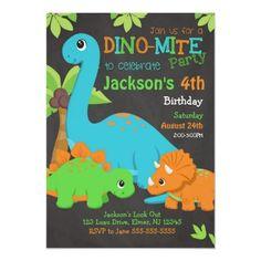 Boy Dinosaur Birthday Invitation / Dino Party